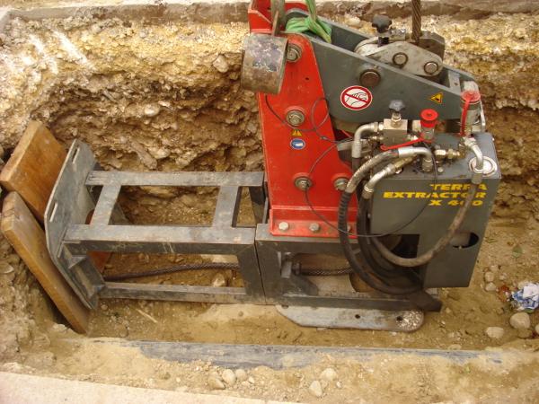Seilberster in der Startgrube, cable burster in the pit © TERRA AG, Reiden, Switzerland