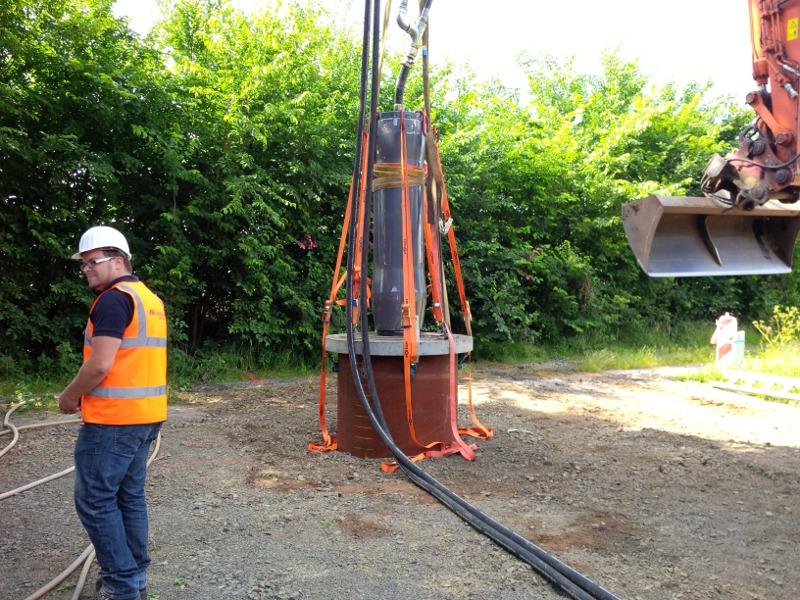 versenktes Stahlrohr, steel pipe in the ground © TERRA AG, Reiden, Switzerland